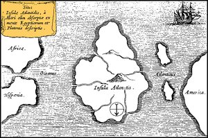 Athanasius Kircher's map of Atlantis, in the middle of the Atlantic Ocean