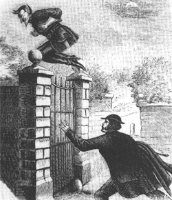 Spring Heeled Jack jumping over a gate