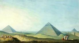 View of the Great Pyramid of Giza , watercolor
