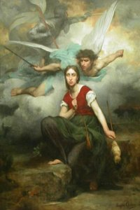 Portrait depicts Joan of Arc's and the Archangel Michael