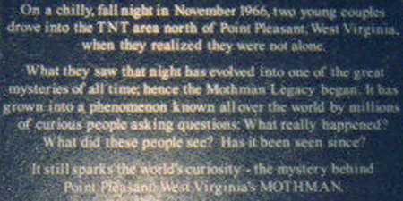 Mothman Plaque-Point Pleasant, West Virginia